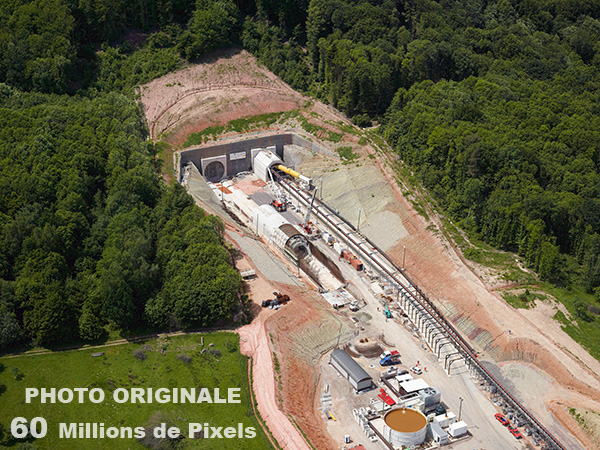 Photo aérienne du chantier de la LGV Est Phase 2 - Le tunnel de Saverne