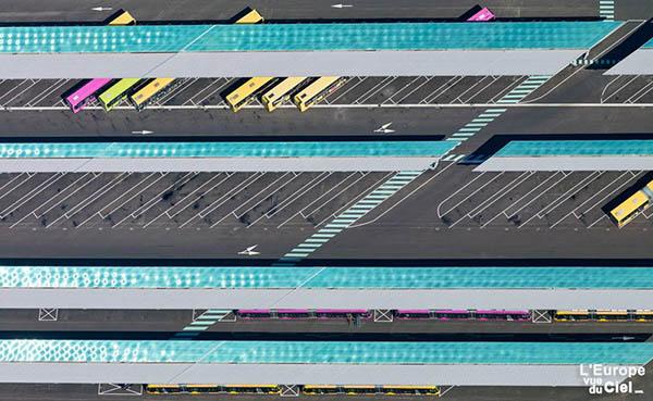 Meilleure photo aérienne artistique - Base de maintenance des bus de Metz Métropole